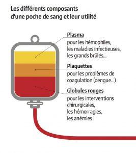 composants de la poche de sang